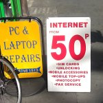 Picture of internet 50p sign