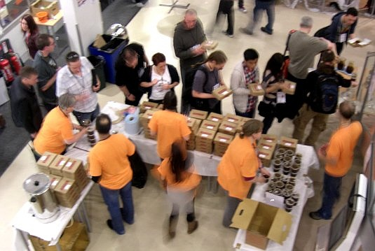 Picture of pies and attendeed at BarCamp London 9