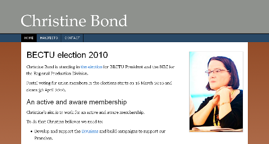 Picture of Christine Bond's website