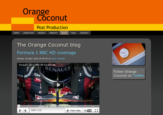 Screenshot of Orange Coconut blog home page