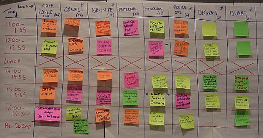 Picture UK Government Barcamp 2010 schedule board - January 2010