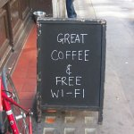 Picture of coffee and internet  sign