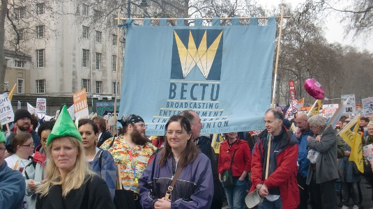 Picture of BECTU banner at the TUC March for the Alternative on 26 March 2011