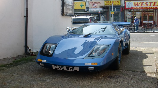 Picture of front of blue sports car