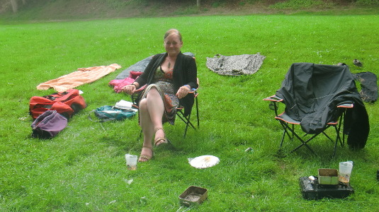 Christina at Llangenny camp site