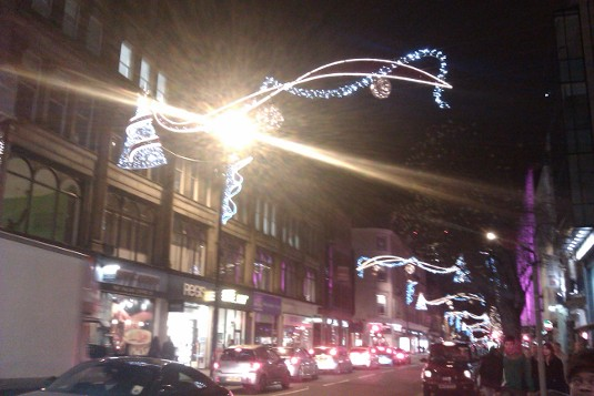 Picture of Christmas lights in Deansgate