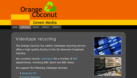 Picture of Orange Coconut videotape recycling page