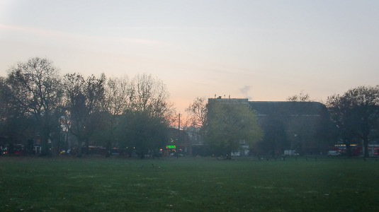 Picture of foggy dusk at Shepherds Bush Green
