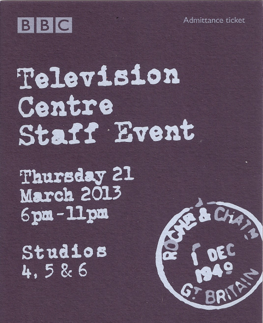 Picture of Television Centre Staff Event ticket
