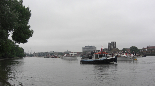 Picture of boats mustering for the Thames Diamond Jubilee Pageant