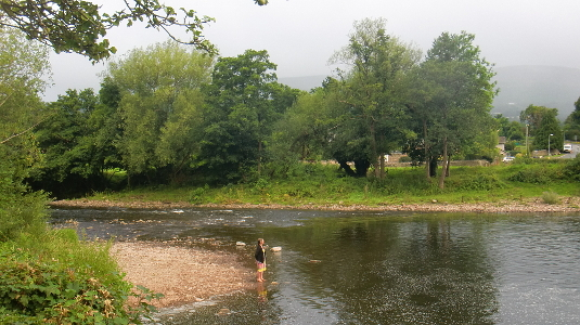 Wide shot of Christina and River Usk from the Bridge End Inn beer garden